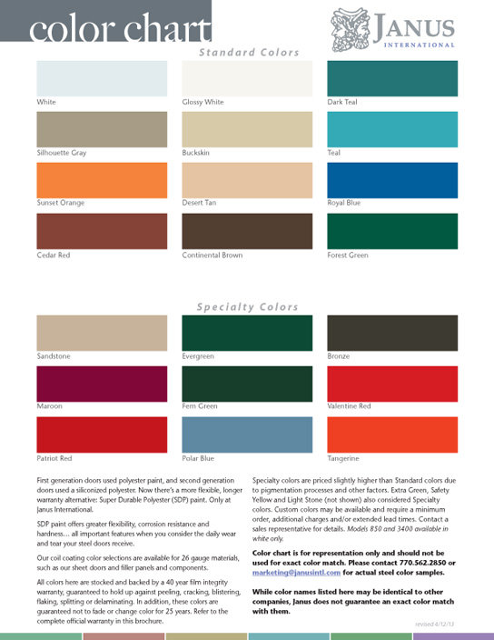 Garage door spring color chart pictures to pin on for Garage door stain colors